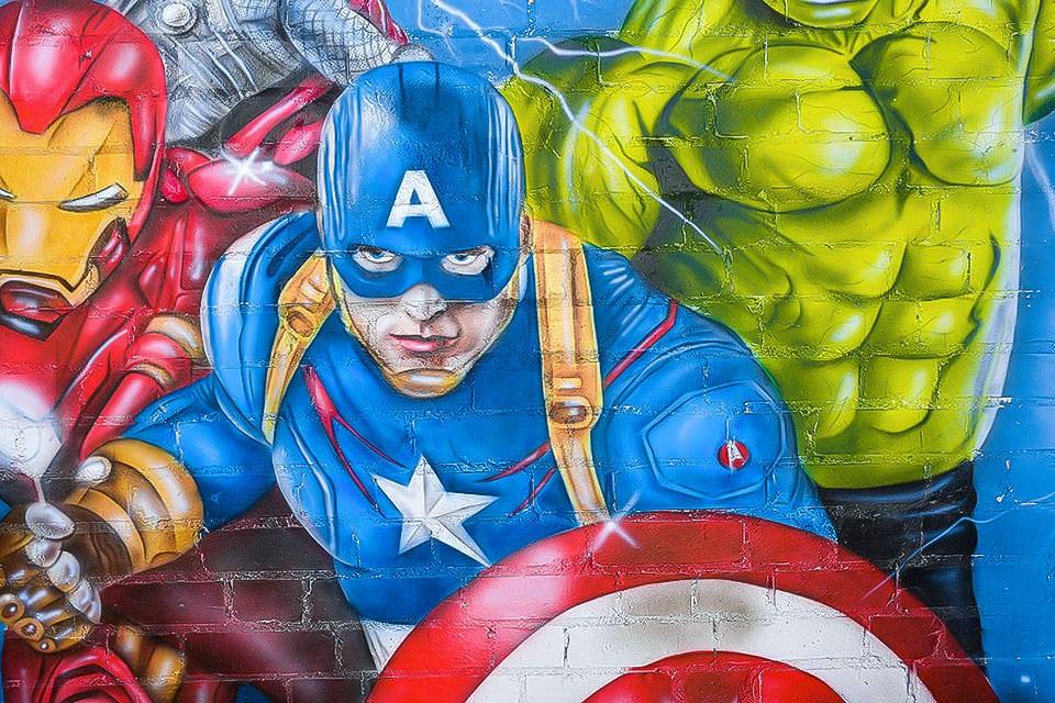 Mural Avengers london captain america