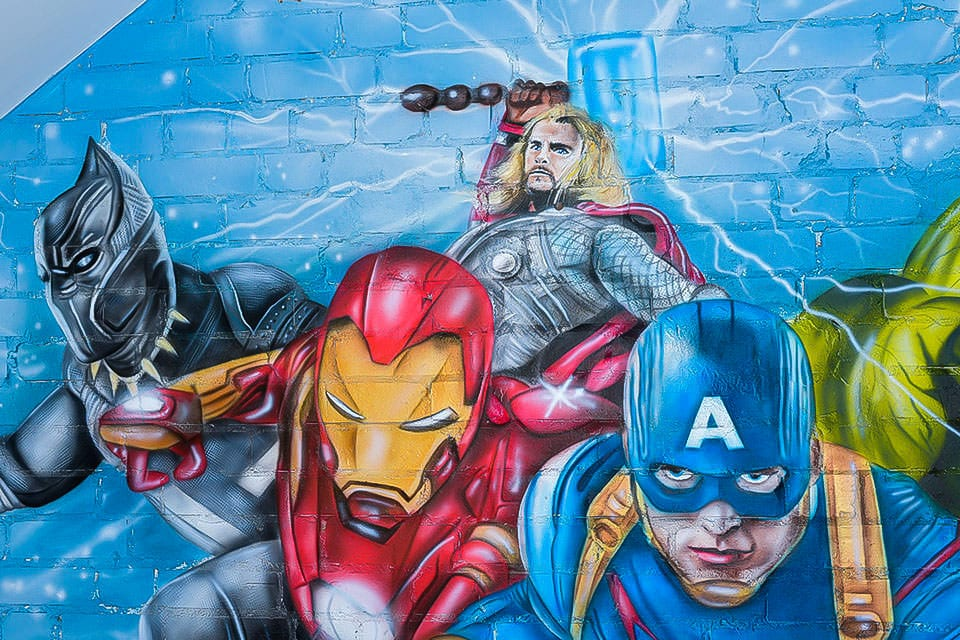 Avengers painted on the wall