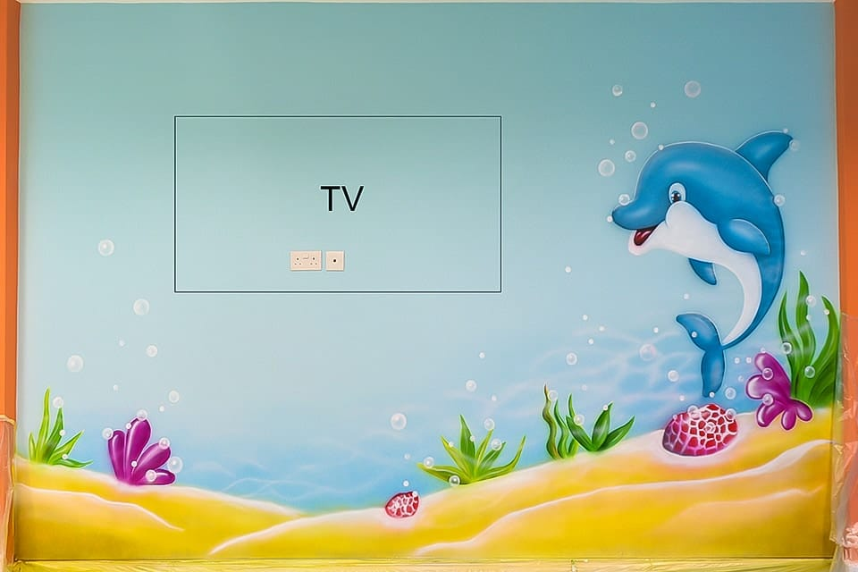 Underwater hand painted mural dolphin FB