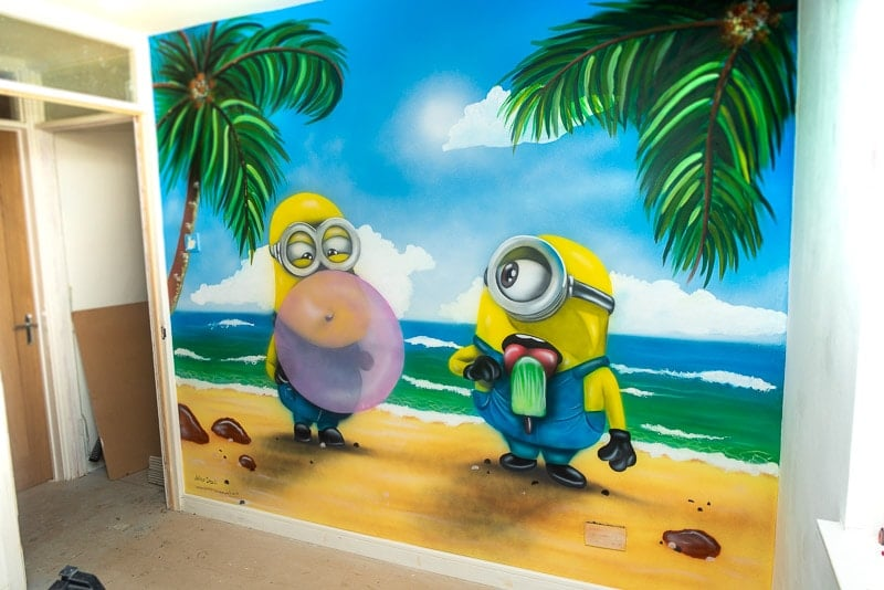 Hand painted Minions Mural on the wall