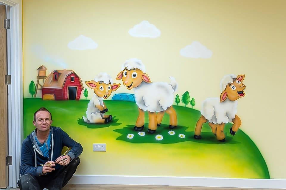 mural artist little lambs mural FB
