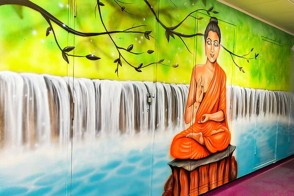 mural artist painted buddha a
