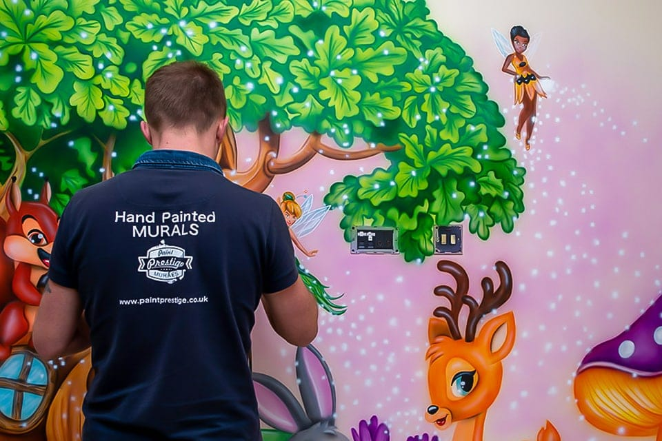 mural artist painting fairy wall mural 1