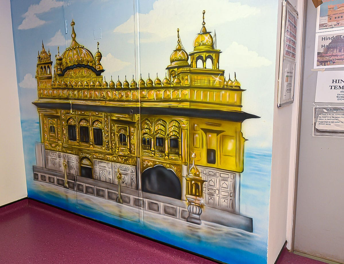 painted murals faith corridor full golden temple mural