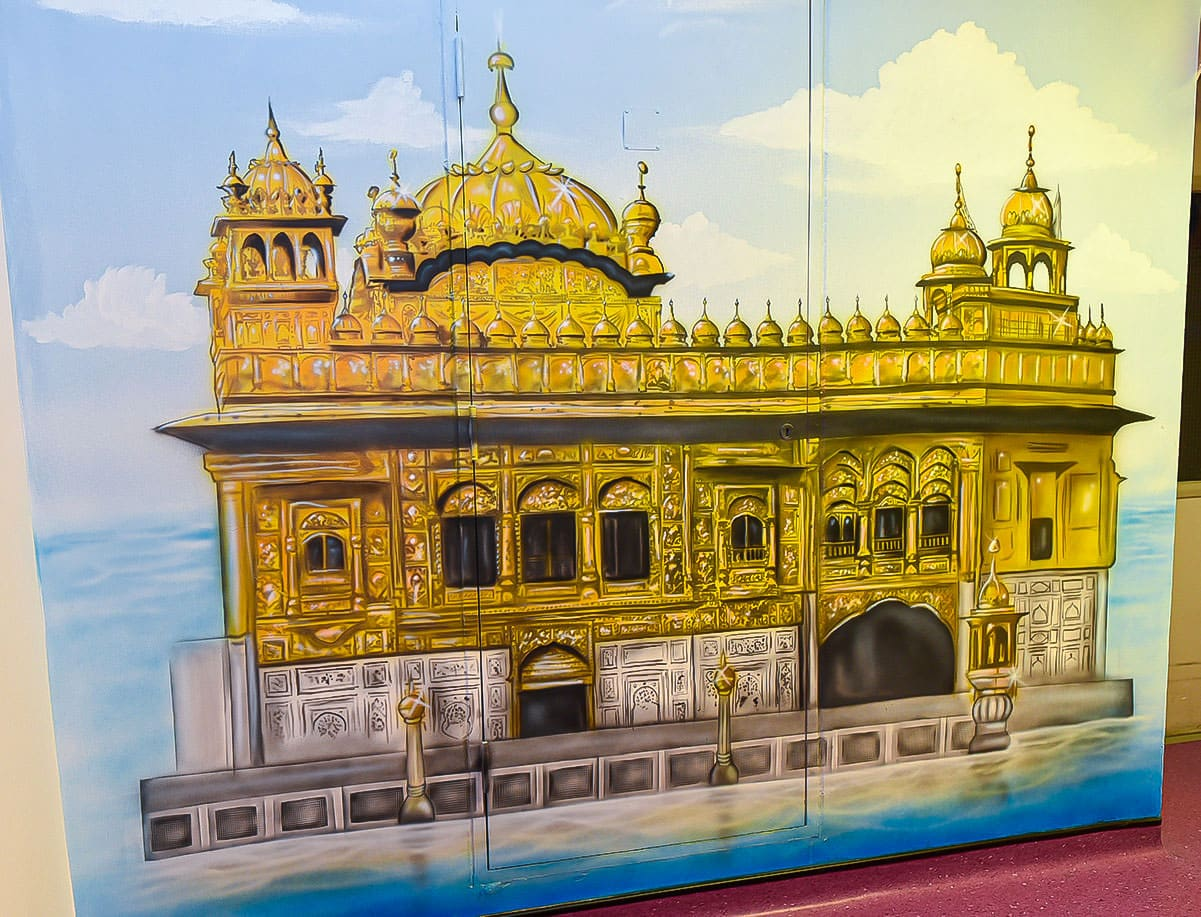 painted murals faith corridor full golden temple