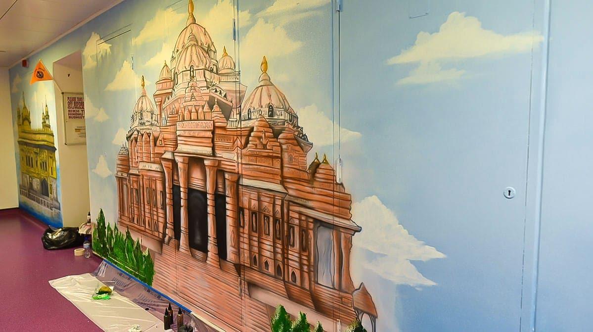 painted murals faith corridor full hindu temple mural