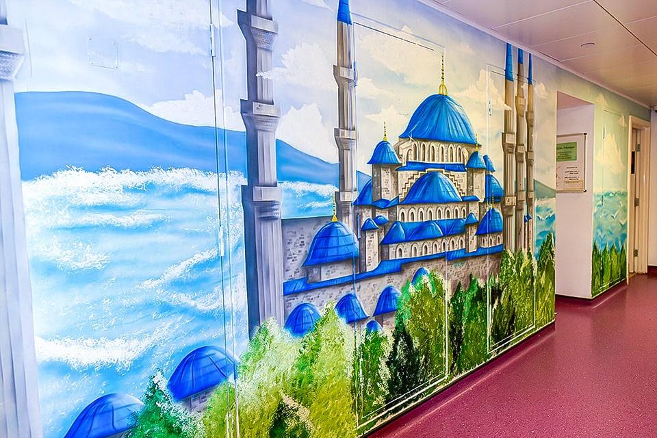 painted murals faith corridor full mosque