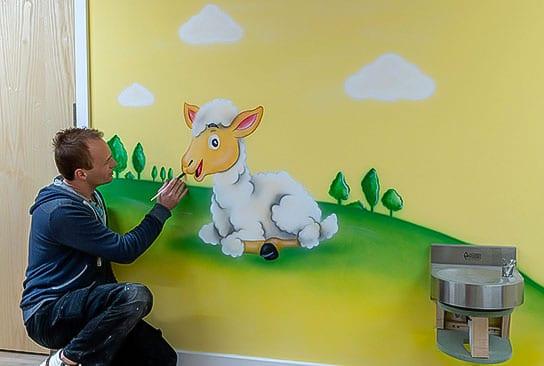 price Hand painted lamb nursery