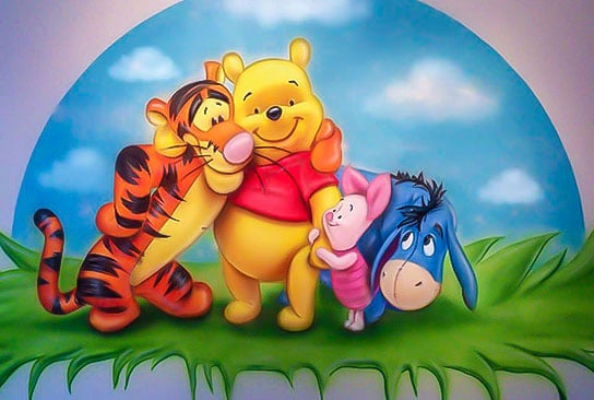 Hand painted Winnie the pooh mural