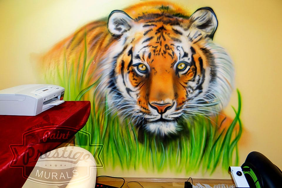 tiger hand painted on wall