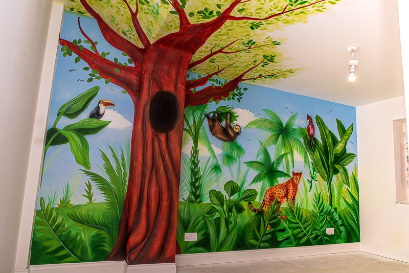 Jungle mural painted on the wall