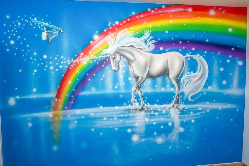 unicorn mural painted on the wall